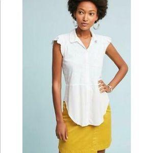 Anthropologie White NWT Lila Top XS Tee New Cotton